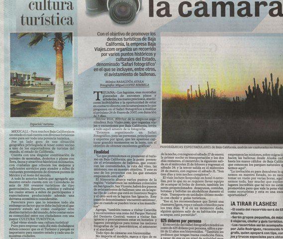 Reportaje en Periódico El Mexicano, enero 2007